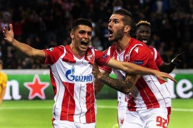 Mateo García, surgido en Instituto de Córdoba, festeja un gol en Estrella Roja