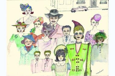 Aleandro dibuja en un puntillismo figurativo y humorístico, que despliega en un repertorio de personajes