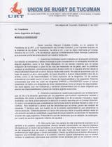 La carta que la Unión de Tucumán difundió luego de enviársela a la UAR