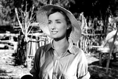 """Silvia Legrand durante el rodaje de """"Campo arado"""" del año 1959"""