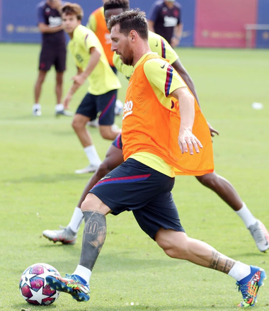 Leo Messi durante la vuelta a los entrenamientos.