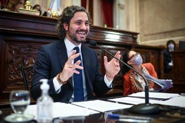 El Jefe de Gabinete, Santiago Cafiero, al momento de dar el informe de gestión en el Congreso