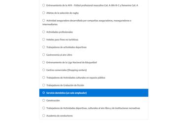 """Elegir la opción """"Servicio doméstico (un solo empleador)"""""""