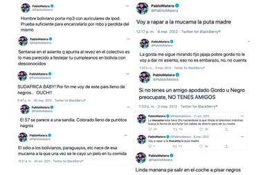 Los mensajes racistas de Matera. Además, se difundieron otros mensajes homofóbicos.