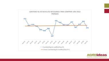 La evolución cantidad de kilos de novillito para comprar una vaca preñada