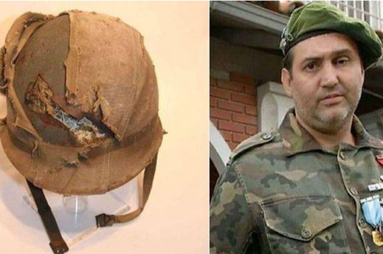 """El veterano de Malvinas Jorge """"Beto"""" Altieri recuperó el casco que le salvó la vida"""