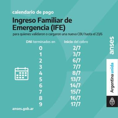 Calendario de pago del IFE de julio