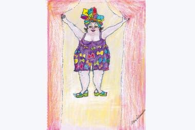 """Una de las """"bailarinas"""" regordetas y sensuales que Aleandro empezó a dibujar para que su amigo Lino Patalano tuviera en el Maipo, y luego todo el mundo le pidió una"""