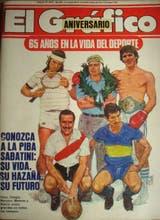 La tapa de El Gráfico de 1984, con Guillermo Vilas, Juan Manuel Fangio y Carlos Monzón; abajo, Moreno y Rattin