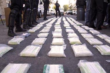 La droga incautada en el operativo Leones Blancos; se sospecha que habrían sido robados 500 kilos de cocaína