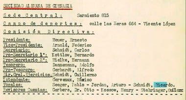 """Richard Schmidt también figuraba en la comisión directiva de la Sociedad Alemana de Gimnasia, una institución """"fuertemente penetrada por los nazis"""""""