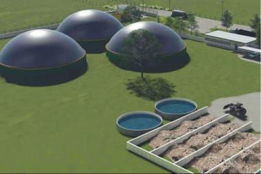 Ilustración sobre cómo será la planta que trabajará con residuos orgánicos de industrias de la zona, entre ellas ligadas al agro