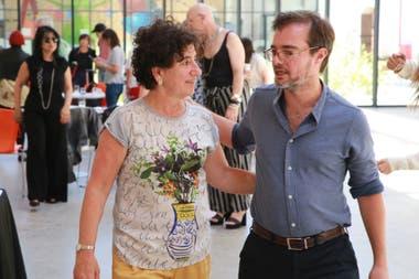 Orly Benzacar y el ministro de Cultura porteño, Enrique Avogadro
