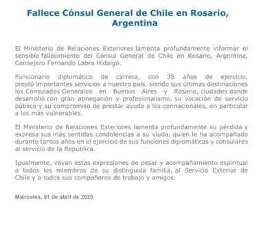 El parte de la Cancillería chilena