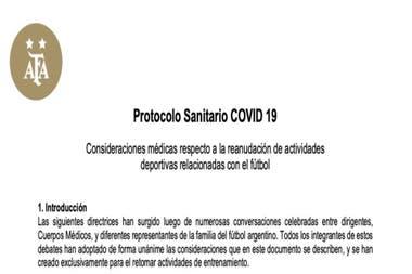 Portada del documento que contiene las recomendaciones sanitarias de la AFA para el regreso del fútbol argentino.