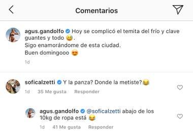 El comentario de la novia del Kun Agüero en la foto de Agustina Gandolfo. Crédito: Instagram