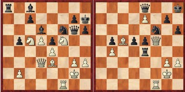 A la izquierda, el tablero hasta la jugada 36, cuando la partida es idéntica a la de Ivanchuk y Wolff; en la vida real, el ucranio avanzó su peón de la columna g; en la serie, Harmon optó por Ce6; a la derecha, tras el error de Borgov con 44... De8, siguió con 45.Df5 Rh8 y un desenlace inevitable