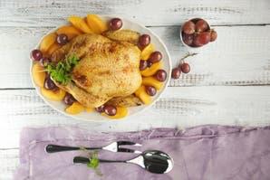 Pollo con duraznos caramelizados