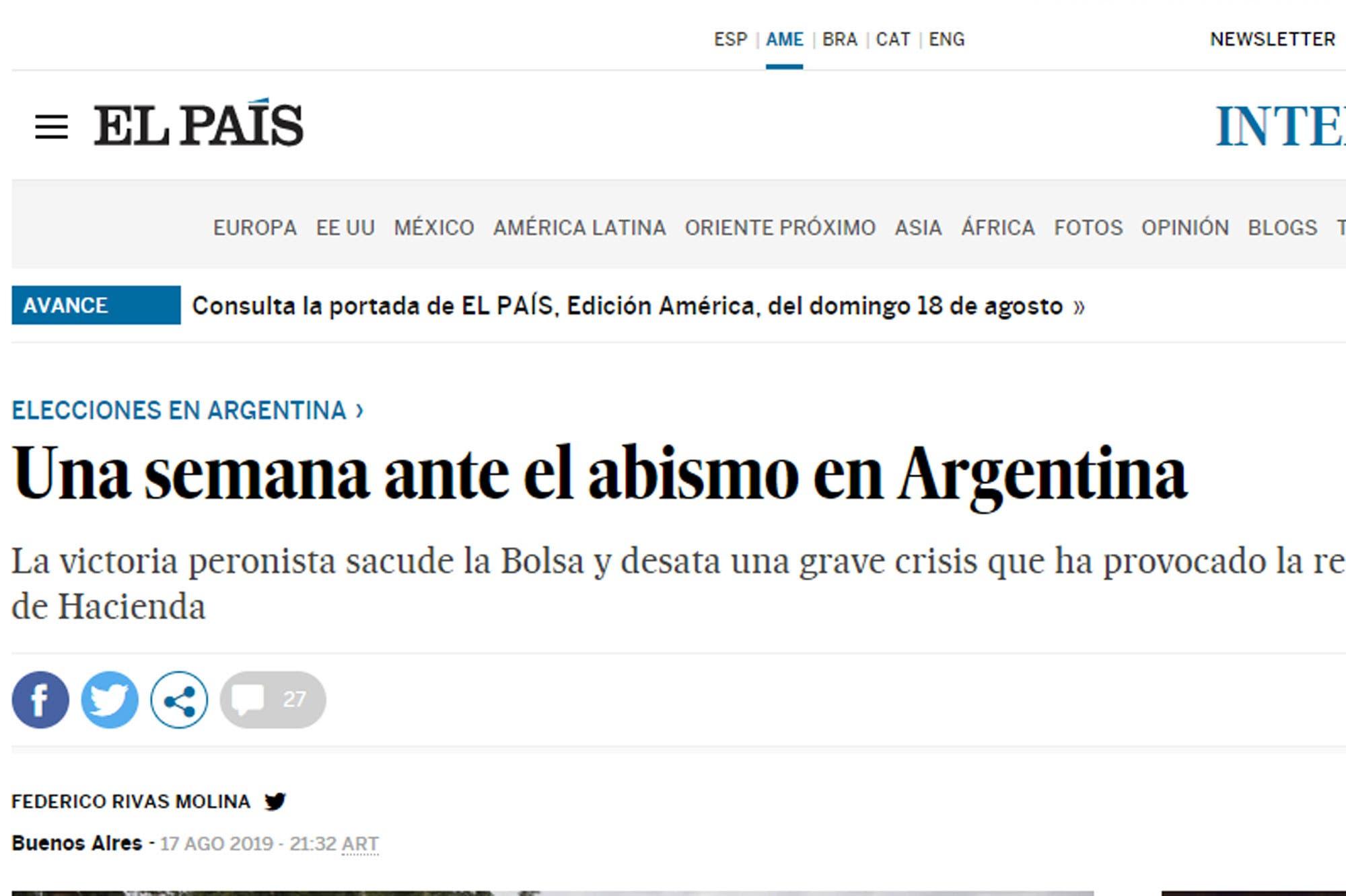 """""""Los pueblos que aman a sus ladrones"""": la prensa española y un duro análisis de la situación política en la Argentina"""