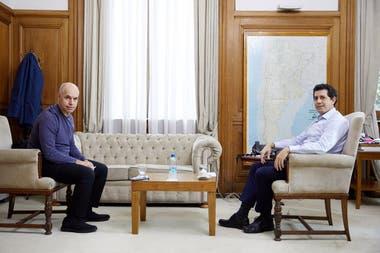 El jefe de gobierno porteo Horacio Rodrguez Larreta y el ministro del Interior Eduardo De Pedro