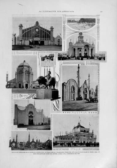 Los principales pabellones de la Exposición, en una nota de la La Ilustración Sud-Americana publicada en 1910.