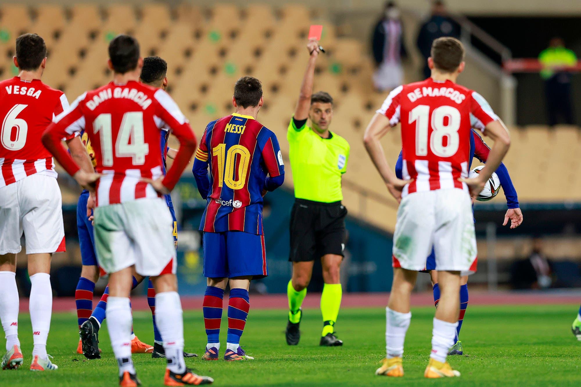 Barcelona - Athletic de Bilbao: la piña de Lionel Messi contra un rival que terminó en su primera expulsión en 753 partidos