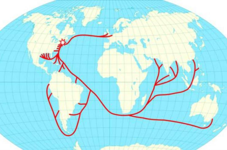 Para 1856, esa aventura absurda de Tudor se había convertido en toda una industria y de Nueva Inglaterra -donde está la estrella- zarpaban barcos cargados de hielo hacia Asia, Sudamérica y puertos en EE.UU.