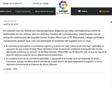 El comunicado de LaLiga en el que respalda la postura de Barcelona