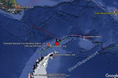 El fuerte sismo se sintió a 210 km de la base chilena Frei