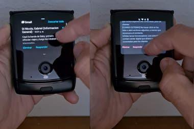 Dos formas de ver las notificaciones la mnimaslo texto y la que activa el teclado y permite ver las notificaciones en colores con imgenes y dems
