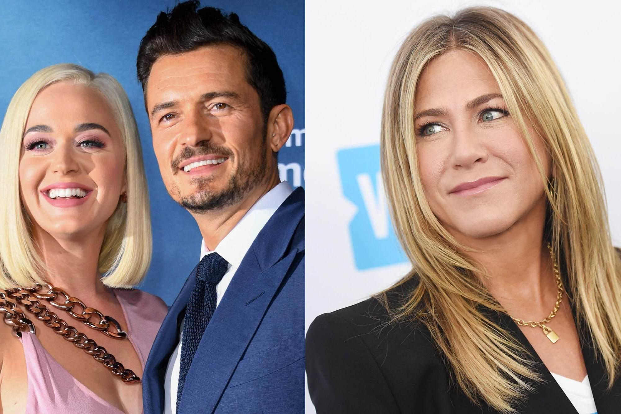 Jennifer Aniston quiere saber si será la madrina de la hija de Katy Perry y Orlando Bloom