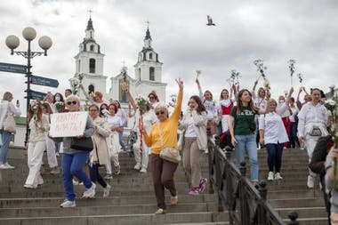 Varios grupos de mujeres protestaron en diferentes partes de Minsk, la capital de Bielorusia