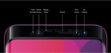 Todos los sensores del frente del Oppo Find X; están ocultos y aparecen con un gesto en la pantalla bloqueada