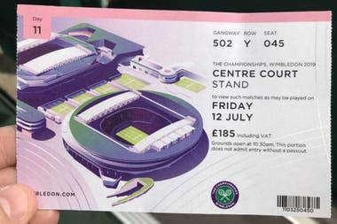 El ticket por valor de 185 libras para ver Nadal-Federer en la cancha central