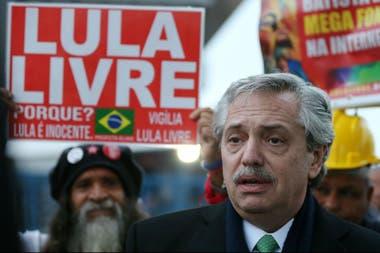 Alberto Fernández, durante su visita a Lula en prisión en julio pasado