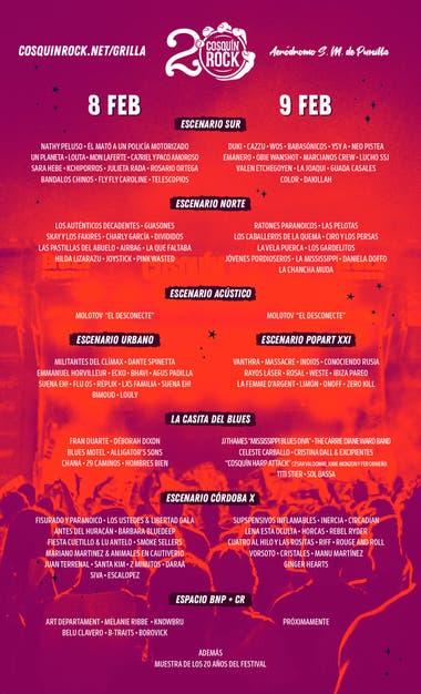 La grilla completa día por día del Cosquín Rock 2020