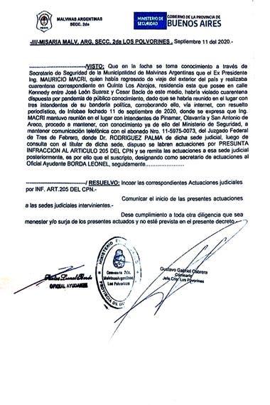 La denuncia policial que dio inicio a la causa contra Mauricio Macri sostiene que la información de la presunta violación de la cuarentena la aportó la Municipalidad de Malvinas Argentinas