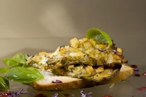 Frittata de cebollas, batata y berenjena