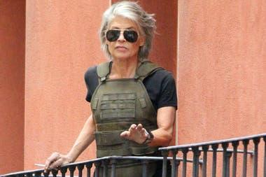 Linda Hamilton, en pleno rodaje de la sexta entrega de Terminator