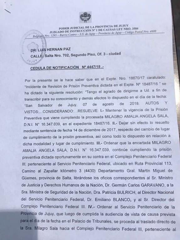 Ordenaron trasladar a la líder de la Tupac Amaru de Jujuy, Milagro Sala, a una cárcel federal de Salta