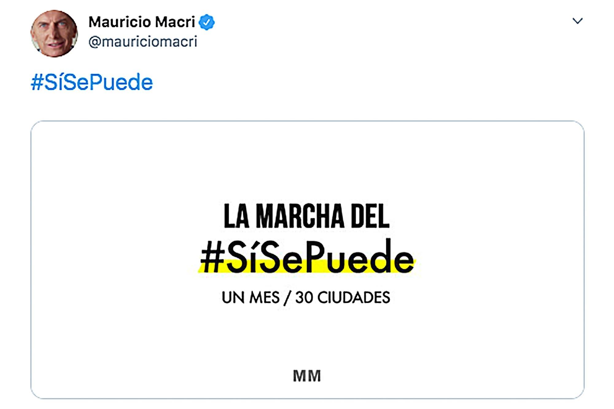 Mauricio Macri lanzó por sus redes una marcha para recorrer 30 ciudades en un mes