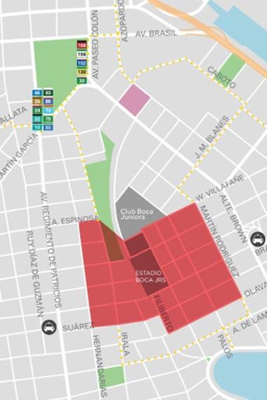 Los cortes de calles que habrá en la zona del estadio de Boca.
