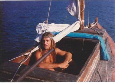 Alberto Torroba en Náufrago, otras de las embarcaciones con las que navegó por el mundo