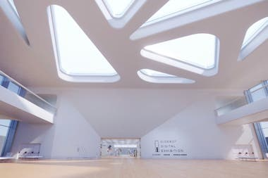 El ingreso a Diderot Digital Exhibition, con ambiente de museo
