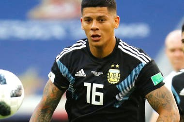 Red in Russia 2018;  one of his last appearances in the Argentine national team