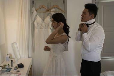 Huang y Lin se alistan para su sesión fotográfica