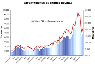Evolución de las exportaciones de carne desde 2013, por mes, hasta marzo pasado
