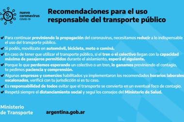 El Gobierno dio sus recomendaciones para el uso del transporte pblico