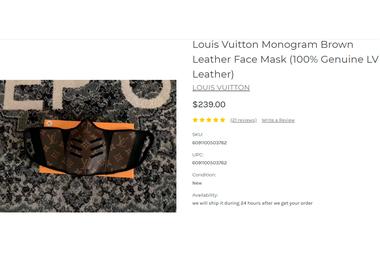 El barbijo que utilizó Wanda Nara con el logo Louis Vuitton, a 22.000 pesos argentinos