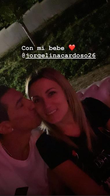 Ángel Di María y Jorgelina Cardoso, en el festejo del PSG.
